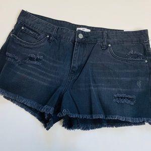 BP Cutoff Shorts Black Denim Fringe Distressed 31